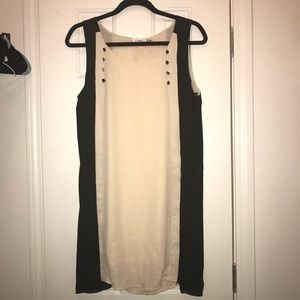 Black and Cream Color-block straight dress